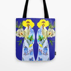 Faces on Her Dress Tote Bag