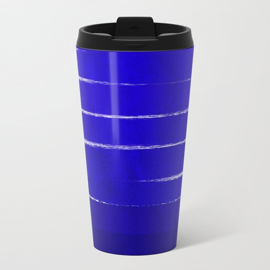 Shel - abstract painting painterly brushstrokes indigo blue bright happy paint abstract minimal mode Metal Travel Mug
