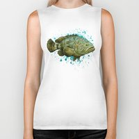 biology Biker Tanks featuring Goliath Grouper ~ Watercolor by Amber Marine