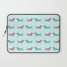 Cute dog lovers in mint background Laptop Sleeve