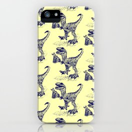 Tipsy Velociraptor with Beer Pattern iPhone Case