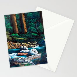 Dark green mountain stream Stationery Cards