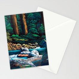 Dark green mountain stream Stationery Cards