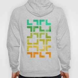 Colorful Watercolor gouache On Black Background Teal Turquoise Yellow Gradient Mid Century Modern Hoody