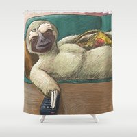 sloth Shower Curtains featuring Sloth by Ken Coleman