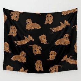 Short Haired Dachshund Pattern Wall Tapestry
