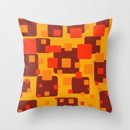 Rectangles red orange yellow pattern Geometric Throw Pillow