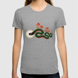 Snake and flowers T-shirt