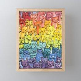 the pride cat rainbow  squad Framed Mini Art Print