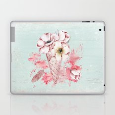 Pink & Teal Summer Fun Flower Ice Cream Waffle -Illustration Laptop & iPad Skin