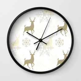 Christmas pattern with snowflakes. Wall Clock