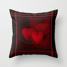 Love. The loving hearts .Black background . Throw Pillow
