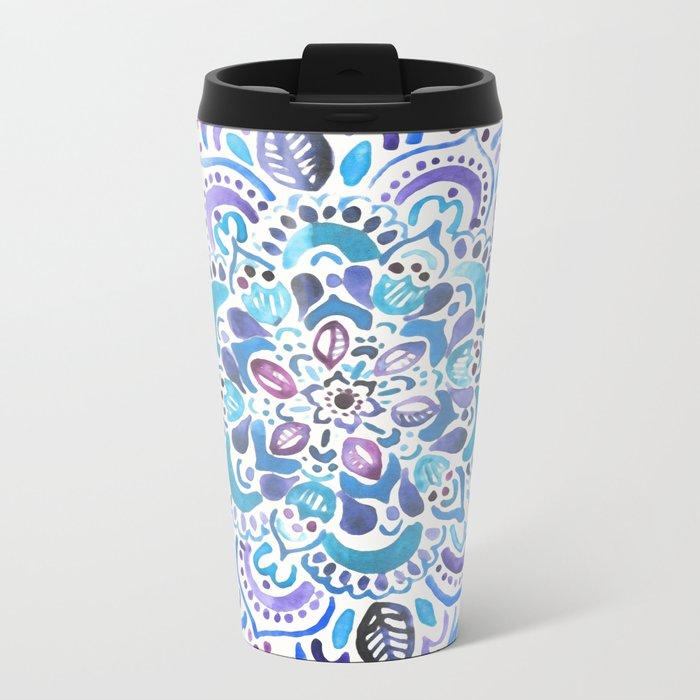 The Blues - Watercolor Mandala Metal Travel Mug