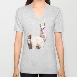 Baby Llama Blowing Bubble Gum Unisex V-Neck