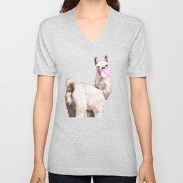 Baby Llama Blowing Bubble Gum Unisex V-Neck