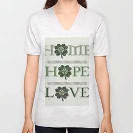 Home Hope Love Shamrock Unisex V-Neck