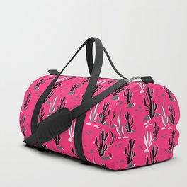 Cacti on a crimson background Duffle Bag