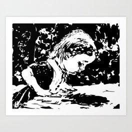 Alice and the rabbit hole Art Print