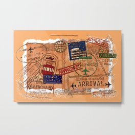 Entry Approved - Passport Stamps Metal Print
