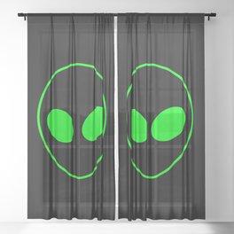 Bright Neon Green Alien Head on Black Sheer Curtain
