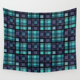 Blue purple colorful checkered pattern . Wall Tapestry