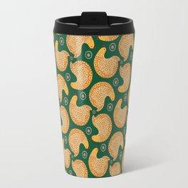 Yellow hen pattern on green Travel Mug