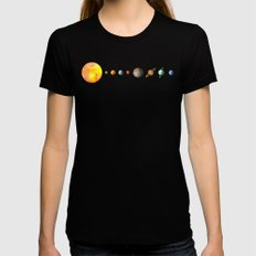 Solar System  Womens Fitted Tee Black SMALL