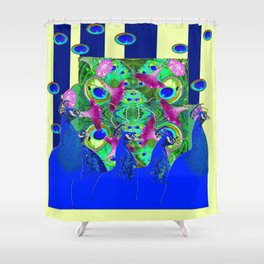 BLUE PEACOCKS & MORNING GLORIES PARALLEL YELLOW PATTERNED ART Shower Curtain