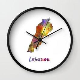 Lebanon  in watercolor Wall Clock