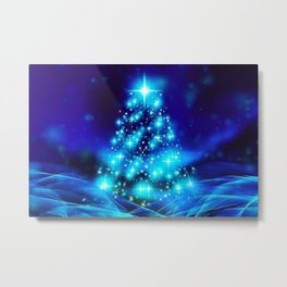 Very Merry Blue Christmas Metal Print
