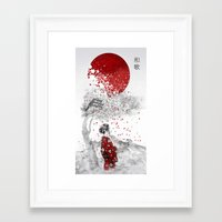 japanese Framed Art Prints featuring Japanese Poem by Marine Loup