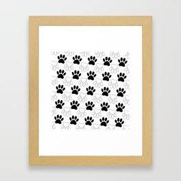 Black And White Dog Paw Print Pattern Framed Art Print