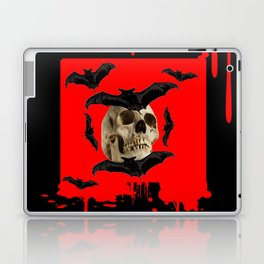 BAT INFESTED HAUNTED SKULL ON BLEEDING HALLOWEEN ART Laptop & iPad Skin
