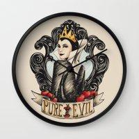 evil queen Wall Clocks featuring Evil Queen by Juu Monteiro