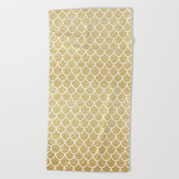 Mermaid Tail Pattern  |  Gold Glitter Beach Towel