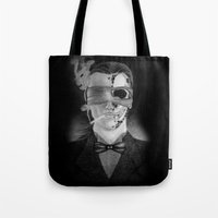 smoking Tote Bags featuring Smoking by Havier Rguez.