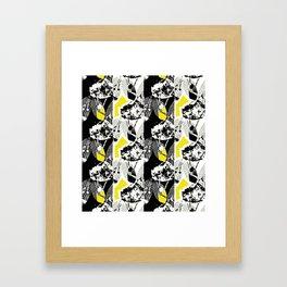 Black and White Leaf Stripe Framed Art Print