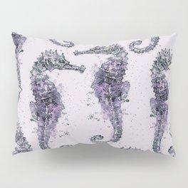 Purple Watercolor Seahorse Pillow Sham