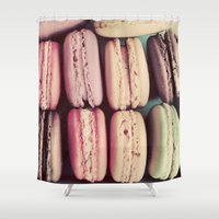 macarons Shower Curtains featuring Macarons by elle moss