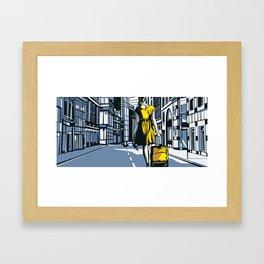 Girl walking on a London street Framed Art Print