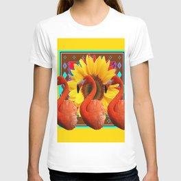 YELLOW BROWN SUNFLOWERS ART DECO 3 SAFFRON FLAMINGOS ART T-shirt