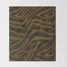 ANIMAL PRINT ZEBRA BROWN CHOCOLATE PATTERN Throw Blanket
