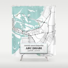 Abu Dhabi City Map with GPS Coordinates Shower Curtain