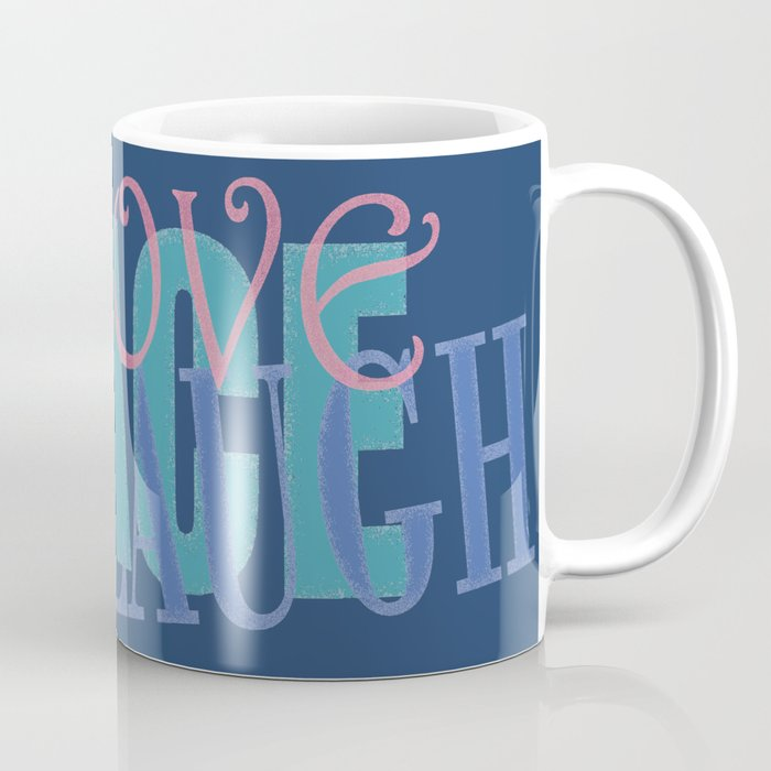 Peace Love Play Laugh Graphic, blue Coffee Mug