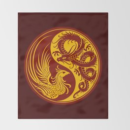 Yellow and Red Dragon Phoenix Yin Yang Throw Blanket
