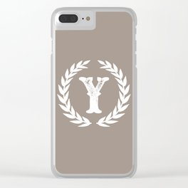 Beige Monogram: Letter Y Clear iPhone Case