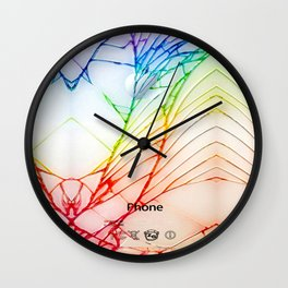 Rainbow Broken Damaged Cracked out back White iphone Wall Clock