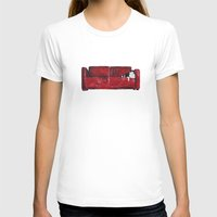 sofa T-shirts featuring cat in a red sofa  by memories warehouse by @aikogg