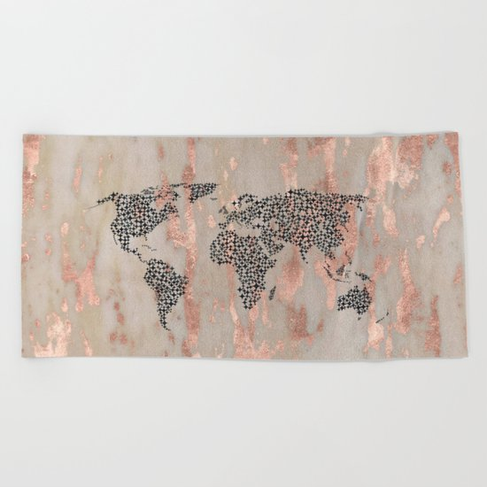 Star Map on Rose Gold Marble Beach Towel