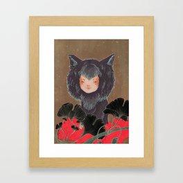 Fox Spirit Kitsune in Gingko Framed Art Print